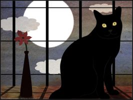 Black Cat Loves Full Moon by Arya3087