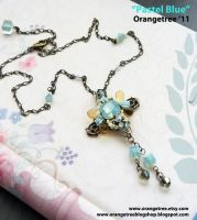 Pastel blue necklace by littleorangetree