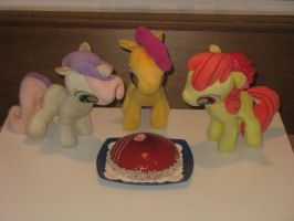 1st Cutie Mark Anniversary celebration cake! by CMC--Scootaloo