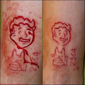 Vault boy, fallout 3 scarification by TheChristOff