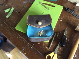 Experimental leather pouch by StudentManiac