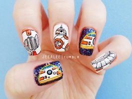 BB-8 Nails | Star Wars: The Force Awakens by jeealee