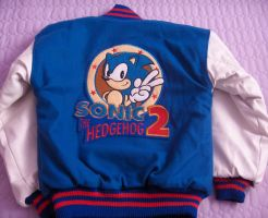 Sonic 2 Varsity Jacket:Back by Blue-Sonikku