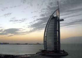 The Burj Al Arab Hotel at Dusk by rbompro1