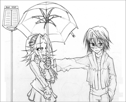under the rain sketc by fraulein-rose