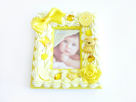 Lemon Yellow Decoden Picture Frame by Kuppiecake