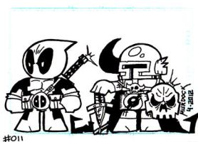 Dead Pool and Tiggz Team Up Sketch Card by Dungeonhordes