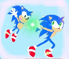 Two Sonic's by Charismathehedgehog