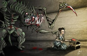 Lady and Lovecraftian Horror by BunnyBennett