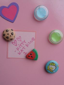 Cookie and Watermelon Magnets by kittykatklub1