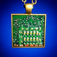 Circuit Board Pendant: Grids and Resistors by Llyzabeth