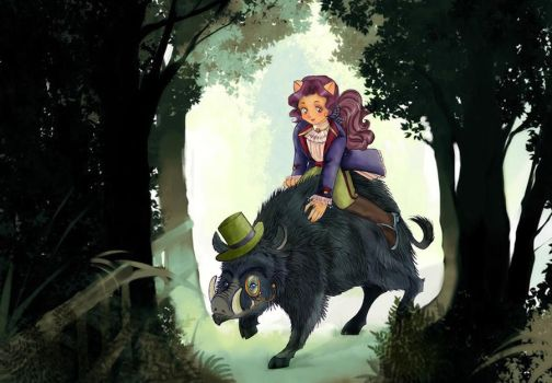 A Boar-ing ride in the forest by Gabycat