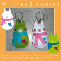 Winterbunnies KeychainPlushies by LalaFish