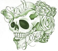 Skull N roses on banner by jerrrroen