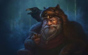 Dwarf with raven by 7kive