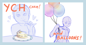 Cake and Balloons YCH (5/5 OPEN) by theamazingwrabbit