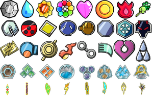 Pokemon - All Gym Badges from Generation 1 -5 by awesomeadam15