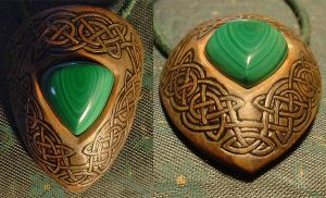celtic malachite amulet by AvocadoArt