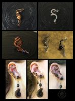 More wire-wrapped earcuffs by ZombieArmadillo