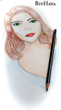 Woman realistic drawing by RuuhAnna