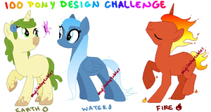 MLP- 100 Pony Design Challenge #1-3 - CLOSED by MyLilAdoptables