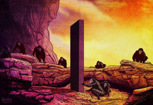 THE MONOLITH AND THE APE MEN 2001 A Space Odyssey by HalHefnerART