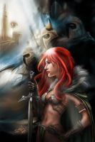 Red Sonja Prepare to battle by ismaelArt