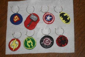 Marvel-DC Wine Charms by Tamuril2