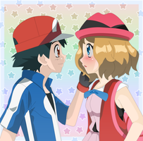 AmourShipping - I like your new hair a lot Serena by Lunariasu