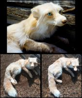 Pink Cross Fox Soft Sculpture by Tricksters-Taxidermy
