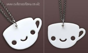 White Coffee Cup Necklace by Cute-Creations