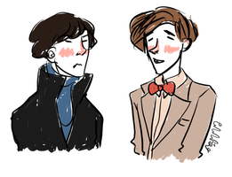 Sherlock and the 11th Doctor by mellamelfran
