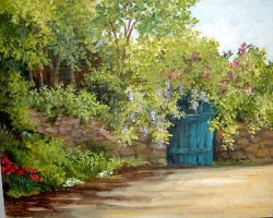 BLUE DOOR by Hydrangeas