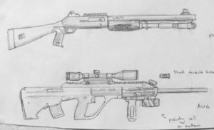 M4 Shotgun and AUG A3 by cncplyr