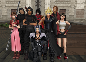 MMD FFVII Group Photo by LittleEvilPikachu