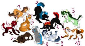 Wolf adoptable batch I (CLOSED) by OsayioAdopts