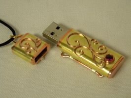 Scroll work steampunk flash drive by gokusonwing0