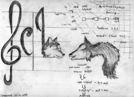 A Tailoid meets a NoteheadWolf by wwwwolf