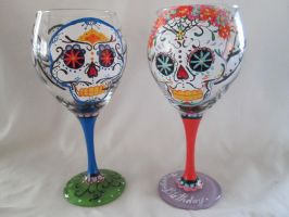 Sugar Skull Glass by yessica83