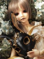 A hydrangea and black rabbit by solalis1226