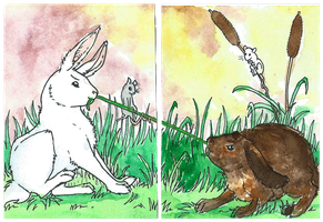 ACEO - Bunny tug-of-war by EriciusLux