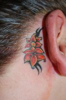 Flower ear tattoo by Diamondback-Tattoo