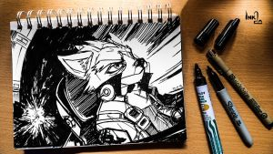 Ace Pilot Fox McCloud (ink-twenty) by darkspeeds