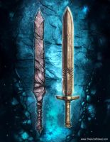 The Slate Sword and Composite Pyrite Sword by streetz86