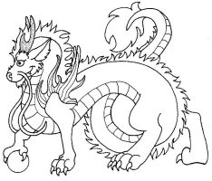 Asian dragon lineart by malytwotails