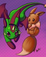 Draconeon and Eevee by AzureBladeXIII