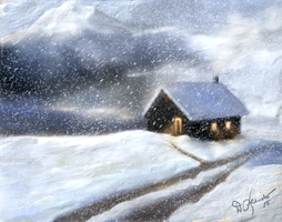 Winter Cabin 2 by ghost549