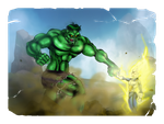 Vegeta vs Hulk by Toadman005