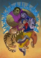 Family with cat by Katerinich