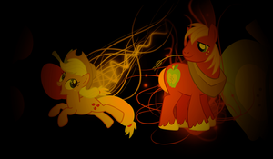 Applejack and Big Macintosh Wallpaper by Raizelmaxx